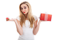 Female model carrying presents Royalty Free Stock Photography