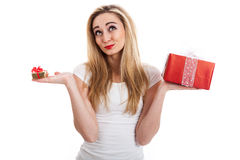 Female model carrying presents Stock Image