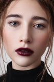 Female model with cherry lips Stock Image