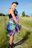 Female model with colorful dress Royalty Free Stock Images