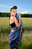 Female model with colorful dress Royalty Free Stock Image