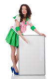 Female model in cosplay costume  on white Royalty Free Stock Image