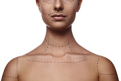 Female Model with dashed Line on Body and Face Stock Photos