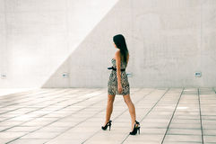 Female model at fashion. In the street Royalty Free Stock Photos
