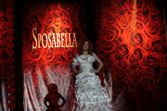 Female model on fashion show  in wedding dress Royalty Free Stock Photo