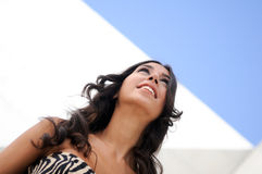 Female model at fashion smiling. In the street Stock Images