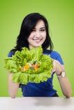 Female model with fresh lettuce Stock Image