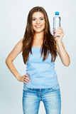 Female model hold water bottle Royalty Free Stock Photo