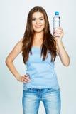 Female model hold water bottle Royalty Free Stock Photo