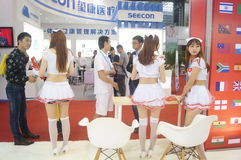 Female model, the international mobile health industry expo in Shenzhen Stock Images