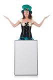 Female model in Irish costume isolated on white Stock Photography