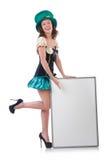 Female model in Irish costume isolated on white Royalty Free Stock Image