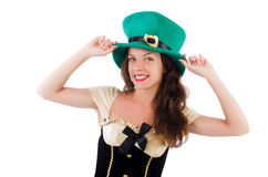 Female model in Irish costume isolated on white Stock Photos