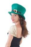 Female model in Irish costume isolated on white Royalty Free Stock Photos