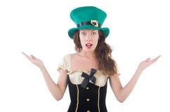 Female model in Irish costume isolated on white Royalty Free Stock Photo