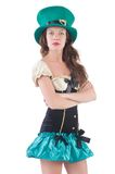 Female model in Irish costume isolated on the Royalty Free Stock Images