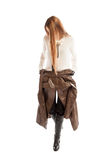 Female model with long hair wearing jacket on waist Royalty Free Stock Images
