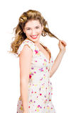 Female model with perfect skin and curly hairstyle Stock Images