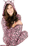 Female model in pink leopard pajamas royalty free stock photo