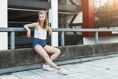 Female model posing in city Royalty Free Stock Images