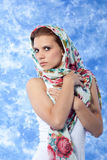 Female model posing expressions. Female model posing with scarf over the head Royalty Free Stock Photo