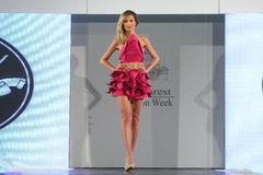 Female model at a Romanian fashion show in Bucharest city Stock Photo