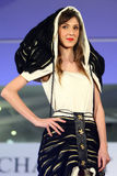 Female model at a Romanian fashion show in Bucharest city Stock Photos