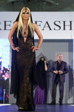 Female model at a Romanian fashion show in Bucharest city Stock Images