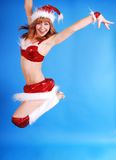 Female model in santas cap. Royalty Free Stock Images