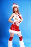 Female model in santas cap. Royalty Free Stock Photography