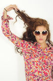 Female model in sunglasses with long hair Stock Image