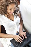 Female model using laptop royalty free stock images