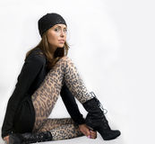 Female Model wearing Black Stock Images