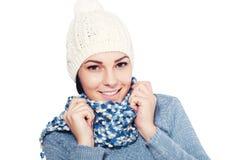 Female model wearing a blue woolen sweater Royalty Free Stock Photo