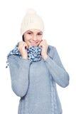 Female model wearing a blue woolen sweater Stock Photos