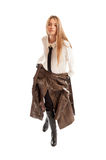 Female model wearing leather jacket on her waist Royalty Free Stock Photos