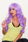 Female Model in Wig Extreme Makeup Stock Photography