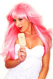 Female Model in Wig Extreme Makeup Royalty Free Stock Photography