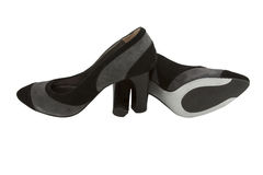 Female modelling suede shoes. Isolated royalty free stock photography