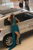 The Female models and car on the shenzhen auto show Stock Photos