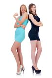 Female models in mini dresses isolated on the Stock Photo