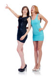Female models in mini dresses isolated on the Royalty Free Stock Images