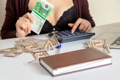 Female with money Royalty Free Stock Photography