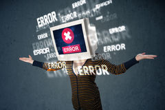 Female monitor head with error signs on the display screen Royalty Free Stock Image