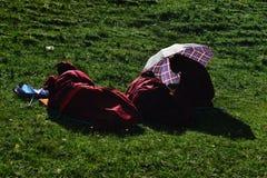 Female Monk in Tibet Stock Photos