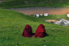 Female Monk in Tibet Royalty Free Stock Photo