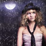 Female Moon Light Night Performer Acting In Rain Royalty Free Stock Image