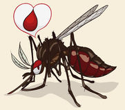 Female Mosquito with Love Blood Balloon, Vector Illustration Stock Image