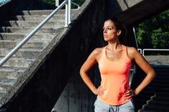 Female motivated athlete sweating Royalty Free Stock Photo