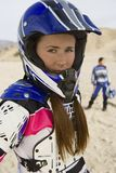 Female Motor Biker At Track Stock Photos